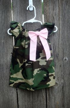 Camo Camouflage Pink Bow Peasant Dress  Baby by MooseBabyCreations, $30.00