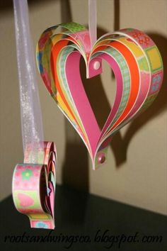 Layered paper strip hearts