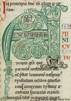 Intitial A with foliate ornament | Expositio super Genesis | France, Cîteaux | 12th century | The Morgan Library & Museum