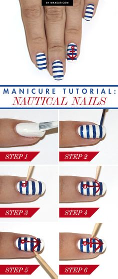 Ahoy, maties! It's time to get nautical! We've got the lowdown on how to do this nautical nail art in just 6 steps. All you need is white, red and navy polish, and a striping prush and toothpick.