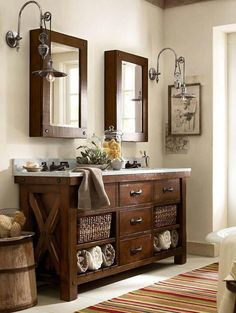 Rustic Master Bathroom With Complex Marble Pottery Barn