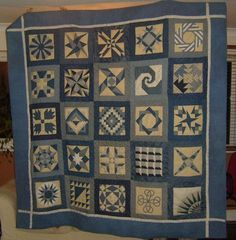 blue sampler quilt by polly sonmez, via Flickr