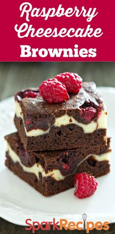 A lot of you asked for this recipe, so here it is! It's not a healthy one, but it's an amazing indulgent treat. :-) Raspberry Cheesecake Swirl Brownies  | via @SparkPeople #food #dessert