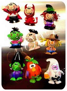 Halloween Dulceros Halloween, Polymer Clay Halloween, Adornos Halloween, Manualidades Halloween, Halloween Cartoons, Halloween Clipart, Halloween Ornaments, Felt Ornaments, Holidays Halloween