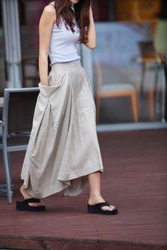 Lagenlook Maxi Skirt Big Pockets Big Sweep Long Skirt