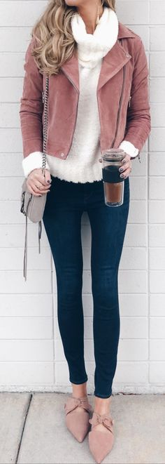 #winter #outfits Brown Full Zip Jacket Ad Blue Jeans