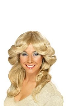 Embrace a bit of Farah Fawcett with this very cool blonde seventies wig (£13.29)