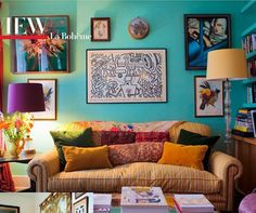 Florence Welch's Bohemian Style (Florence + The Machine) | House & Home. Colourful, bold styling in the living room explores an avian theme, working with complementary colours and original artwork, including a Keith Haring family heirloom.
