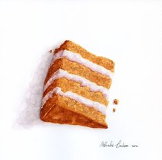 Slice of almond cake ORIGINAL Painting Still by ForestArtStudio