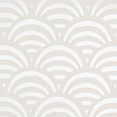 "Lamu Wallpaper, 27""w x 27' l, pattern repeat: 25 1/4. Easy to wipe clean (okay for bath). Bone colorway...I'd install upside down: my fishscale/scallop! via Serena & Lily."
