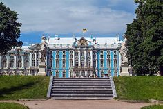 The Catherine Palace, completed in 1756, is nearly 1km in circumference, with elaborately decorated blue-and-white facades , designed by Rastrelli. In Elizabeth's reign it took over 100kg of gold to decorate the palace exteriors, an excess that was deplored by Catherine the Great when she discovered the state and private funds that had been lavished on the building.