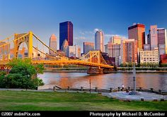 Pittsburgh! Very industrialized but still cool. Love how all bridges are yellow ... They really love the color up there.