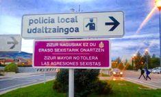 """Geroa Bai del Ayuntamiento de Cizur (Navarra) instala """"señales moradas"""" en contra de la """"violencia machista"""""""