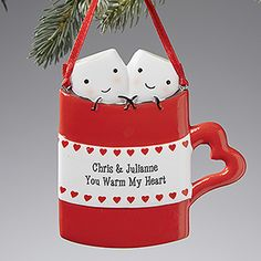 "OMG! This is so cute!!! It's the ""You Warm My Heart"" Personalized Ornament from PersonalizationMall - You can have it engraved with any 2 lines that you want - cute Christmas gift for couples!"