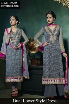 Classy Grey Dual Style Lower Suit For Buy Call or Whatsapp 08968017642, 07837409851 or Click the below link http://easyafford.com/salwar-suits/53-classy-grey-dual-style-lower-suit.html