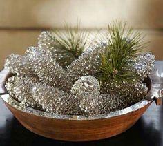 Spray pinecones with Krylon Looking Glass spray paint
