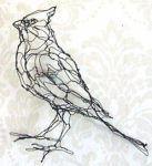 escultura de alambre de amplio hombro halcón por arte de alambre escultor Elizabeth berrien.