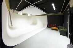 Studio 2 for hire. white screen U shaped cyc wall Screen Film, Chroma Key, Black Floor, Film Studio, Filmmaking, Things That Bounce, Studios, London, Wall