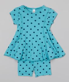 Love this Turquoise Polka Dot Swing Top & Shorts - Infant, Toddler & Girls on #zulily! #zulilyfinds