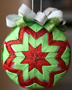 Quilted Christmas Ornament BallRed and Green
