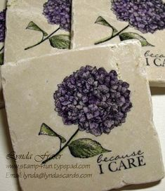 Hand stamped Tile / Coasters. I didn't make these, but have made them many times. I love that you can customize them for anyone. You can also get the smaller mosaic times and use the same technique to make magnets to match!