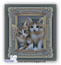 a cat out of the frame on International Cross Stitch