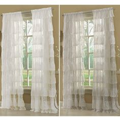 """Elegant panel uses layers of delicate gently ruffled knitted lace to create an elaborate bouffant styled panel.  63"""" long panel features six layers while the 84"""" length features eight layers. Ruffled Panels measure 60"""" wide each. matching Ruffled valance measures 60"""" wide x 12"""" deep. Available in White or Ivory Machine wash, warm water, gentle cycle. Do not bleach.Line dry. Touch up with warm iron if necessary."""