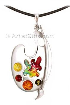 Unique Artist Gift - Sterling Silver Artist Palette Necklace with Enamel and Baltic Amber and Leather Cord.