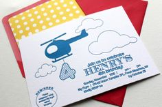 cute invite - adapted for a birth announcement, maybe? #helicopter, #stationary, #birth_announcement