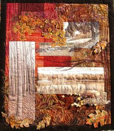 """""""Rivanna Memories"""" by Linda Turner a British textile artist featuring collage of photographs and colors to remember time spent in Virginia USA."""