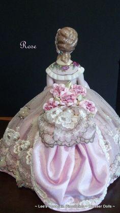 Rose ~ back side Hand crafted porcelain half doll Pincushion~ Dresser doll.