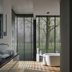 6 Astounding Unique Ideas: Wooden Blinds For Windows grey wooden blinds.Kitchen Blinds Purple printed blinds for windows.Wooden Blinds For Windows. Bathroom Window Treatments, Bathroom Blinds, Kitchen Blinds, Bathroom Windows, Large Window Treatments, Open Bathroom, Best Blinds, Diy Blinds, Curtains With Blinds