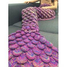 Fashion Knitting Raised Fish Scale and Tassel Design Mermaid Shape Sofa Blanket - PURPLE
