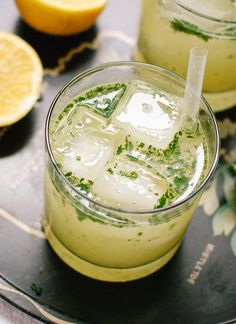 Bootleg cocktail (natural lemonade blended with mint and liquor!) - cookieandkate.com