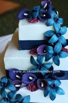 wedding cakes richmond VA, blue wedding cakes, purple wedding cakes