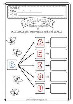 Notebook da Profª: Atividade Família Silábica do B - Consciência Fonológica Maternelle Grande Section, Number Tracing, Kindergarten Worksheets, Letters And Numbers, First Grade, Phonics, Alphabet, Homeschool, Classroom