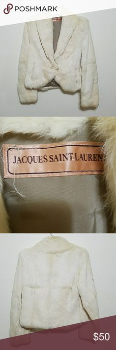 JACQUES SAINT LAURENT Rabbit fur jacket.  Beautiful and soft.  In excellent vintage condition.  There is no size tag but the bust measures arm pit to arm pit times two is 36 inches and the length is 21 inches from collar seam to hem. Jacques Saint Laurent Jackets & Coats