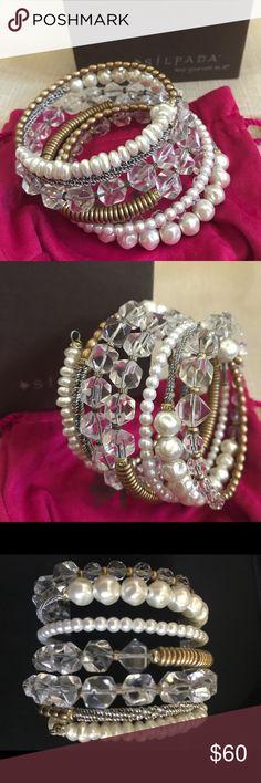 """Silpada Practical Pearls Bracelet 7"""" new in box Silpada Practical Pearls Bracelet KRB 7"""". Glass, glass pearl, Swarovski Crystals Brass. New in box with pink jewelry bag. Silpada Jewelry Bracelets"""