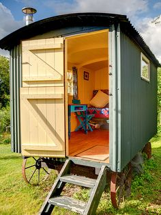 The ideal she shed for the world traveler comes in the form of this shepherd's hut turned summer house. Garden Playhouse, Garden Sheds, Plywood Interior, Gypsy Wagon, Gypsy Caravan, Gypsy Trailer, Shepherds Hut, Garden Studio, Backyard Studio