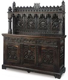 Gothic Victorian Furniture...I really need the lower part of this as a tv stand. Please let me know if anyone finds similar!!