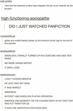 """We were joking, Moffat"" (Sherlock: The Empty Hearse) // seriously though"