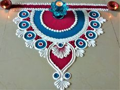 Very Simple and Easy Rangoli Designs for Deepawali Rangoli Designs Simple Diwali, Rangoli Simple, Indian Rangoli Designs, Rangoli Designs Latest, Rangoli Designs Flower, Free Hand Rangoli Design, Rangoli Border Designs, Small Rangoli Design, Rangoli Patterns