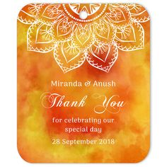 Thank You Gift Tag Saffron Wedding Favor Labels, Wedding Gift Tags, Wedding Favors For Guests, Diy Wedding, Exotic Wedding, Wine Tags, Wedding Stickers, Thank You Gifts, Weddingideas