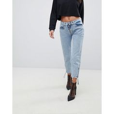 Versace Jeans Mom Jeans WIth Exposed Zip (22.025 RUB) ❤ liked on Polyvore featuring jeans, silver, versace, zipper jeans, slim fit jeans, zipper fly jeans and versace jeans