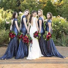 Navy Blue Sequins Short Sleeve Bridesmaid Dress Mermaid Evening Ball Gowns WD156