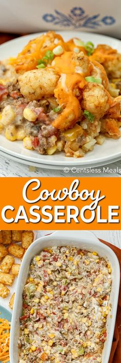 Cowboy Casserole has delicious ground beef, creamy milk and soup, tater tots and cheese all baked together into one tasty entrée! It's perfect for breakfast, brunch or dinner and is a hearty meal that will fuel your family for hours! #centslessmeals #cowboycasserole #crockpot #tatertotcasserole #cowboybreakfastcasserole #withpotatoes #cheesyrecipe #easycasserole #brunchrecipe Cheesy Recipes, Meat Recipes, Cooking Recipes, Budget Recipes, Beef Casserole Recipes, Casserole Dishes, Burrito Casserole, Beef Dishes, Kitchens