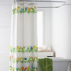 hower curtain with songbird print. Colorful shower curtain designed with sweet hand-blocked songbirds roosting in rows of leafy branches. Shower curtain made cotton duck cloth. More Details Colorful Shower Curtain, The Company Store, Kids Bath, Shades Of Green, Bathroom, Furniture, Shower Curtains, Branches, Bungalow