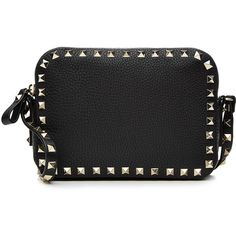 Valentino Leather Rockstud Camera Bag ($1,030) ❤ liked on Polyvore featuring bags, handbags, black, camera bags, embellished handbags, vintage style handbags, valentino handbags and genuine leather purse