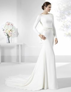 Bridesfamily Gorgeous Chiffon Illusion High Callor Sheath/Column Wedding Dress With Lace Appliques & Beadings White Wedding Gowns, Wedding Dresses Plus Size, Bridal Wedding Dresses, Formal Dresses, Wedding Flowers, Pronovias Dresses, Lace Applique, Marie, Lace Dress