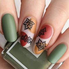 Hey friends! Today I have a recreation of a beautiful design by the talented @gosiapio_nailart . I saved this one the moment I saw it! Please go follow her if you don't already! Hope you like them! 😊 Nail Art Diy, Easy Nail Art, Diy Nails, Trendy Nail Art, Simple Nail Art Designs, Cute Designs, Nail Designs Spring, Autumn Nails, Fall Acrylic Nails